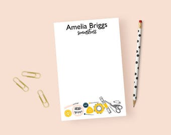 Personalized Notepad for Seamstress, Sewing Notepad Personalized, Personalized Sewing Business Notepad, Sewing Notepad, Gifts for Sewers