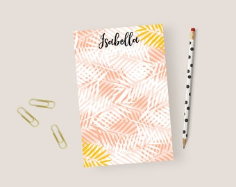 Personalized Notepad Palm Leaf Notepad Personalized, Tropical Stationary Notepad, Personalized Stationery Notepad, Customized Note Pads
