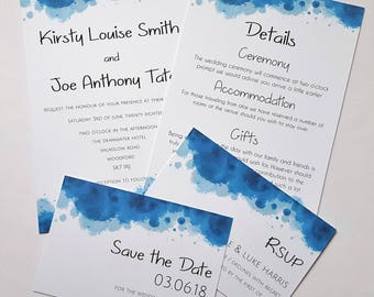 Invitation, RSVP, Save the Date & Details, Contemporary Watercolour Wedding Stationery