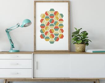 Hexagon Geometric Printable Art, Retro Digital Prints, abstract art wall decor, minimal modern posters, instant download, home decor
