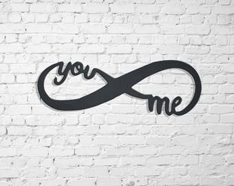 you and me infinity sign metal wall decor wedding gifts engagement gifts love wall signs metal wall signs Valentines day