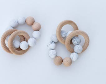 Willow Teething Rattle - Black and White Collection