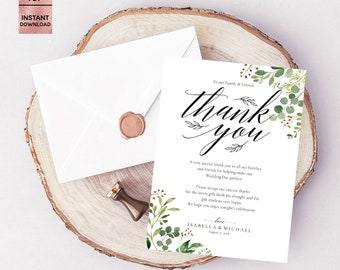Green Leaves Wedding Thank You Card Template, Green Leaf Printable 5x7 Thank You Note, Editable Thank You Pad, PDF File, Digital Download