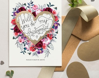 Will You Be My Bridesmaid Scratch Off Card Heart Floral Bloom 15