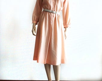 vintage wool soft pink winter dress