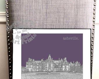 Purple Asheville NC Art, Biltmore Estate, NC Mountains, Castle Art, Mansions, North Carolina Wall Art, Home Decor
