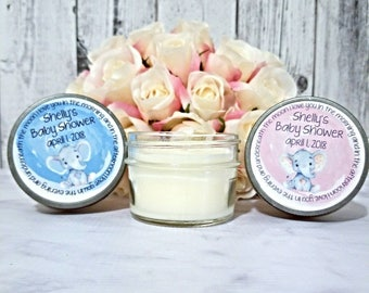 Set of 12 - 4oz Soy Candle Favors - Elephant Baby Shower - Baby Shower Candle Favors - Baby Shower Favors Candles - Boy/Girl Baby Shower