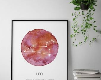 Leo Constellation Poster, Leo Constellation Watercolor, Nursery Leo Art Print, Leo Print, Zodiac Constellation Poster, Leo Christmas Gift