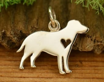 Sterling Silver Labrador Retriever Charm - Yellow Lab - Black Lab- Chocolate Lab Charm - Make your own charm necklace
