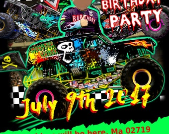 Personalized Monster Truck Customized Birthday Invitation and THANK YOU Card