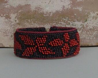 Red flower bracelet, crochet seed bead bracelet, handmade cuff bracelet