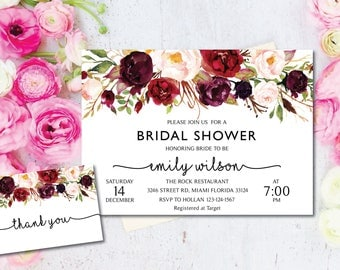 Bridal Shower Invitation, Printable Bridal Shower, Boho Bridal Shower, Instant Digital Download File, Flower Bridal, Bridal Shower Signs MF1