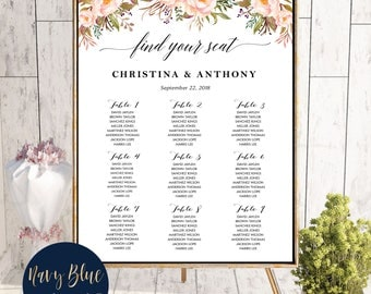 PRINTABLE Wedding Seating Chart, Wedding Seating Chart, Wedding seating template, Navy seating chart, Seating chart, Find Your Seat, #145