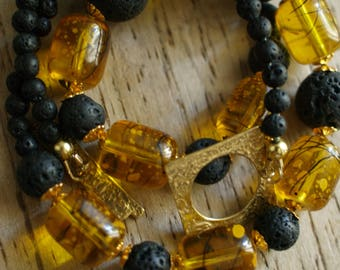 Black lava stone necklace - Yellow glass beads neklace -  Black and yellow necklace - Black and yellow Earrings