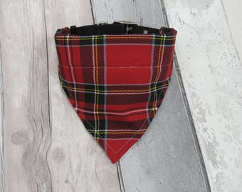 Red Tartan Plaid Dog Bandana, dog clothes, dog accessories, slip on bandana, pet accessories, detachable bandana, collar accessoryL