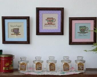 Cross stitch: glass for tea jars