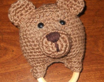 Teddy Bear Baby Rattle and Teething Ring