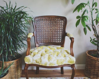 Cane Chair Mid Century Chair Boho Decor Eclectic Furniture Antique Chair Tufted Chair Mid Century Modern Chair Art Loves Antiques Rustic