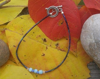 Ankle Bracelet Blue cat's eye, Iridescent Blue glass bugle beads, seed beads. Original design. glass seed.   Anklet.