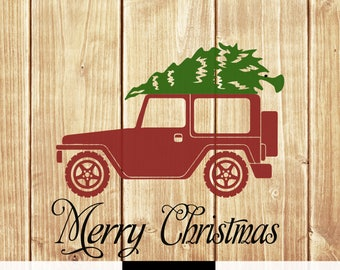 DIGITAL DOWNLOAD merry christmas svg - christmas truck svg - christmas jeep svg - jeep svg - christmas svg - silhouette - cricut - svg files