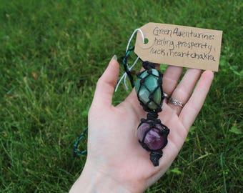 Hemp wrapped crystal necklace(Amethyst&Green Aventurine)
