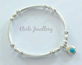 Silver and Turquoise bracelet, stretch bracelet, ball bracelet, turquoise bracelet, sterling silver bracelet, beaded bracelet