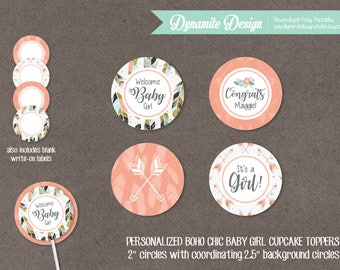 Personalized Boho Chic Baby Girl Cupcake Toppers