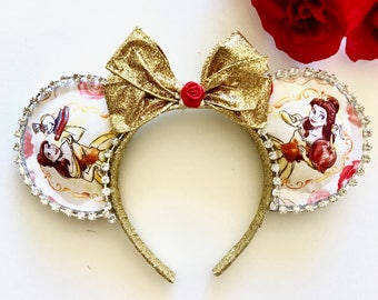 Belle Inspired Mouse Ears - Beauty and The beast inspired mouse ears - Belle Minnie Mouse Ears