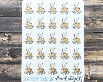 Paint Night planner stickers, ladies night stickers, date night stickers, girl's night out stickers