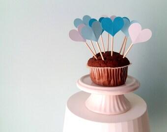 12 Cupcake Toppers per Torte e Dolci con Cuori di Carta Azzurro, Bianco, Turchese, Decorazioni per Feste e Party