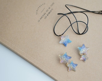 Star necklace and earring jewelry set