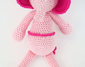 Pink Crochet Elephant,Crochet Elephant Plushie,Stuffed Elephant Toy, Crochet Toys,Nursery Decor,Crochet Stuffed Animals,Crochet Toy Elephant