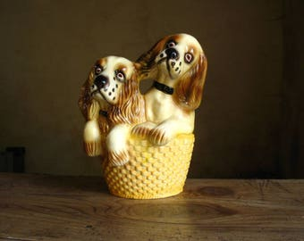 Two puppies in a basket, Vintage, French, Ceramic big size Spaniel puppies figurine, 1960s