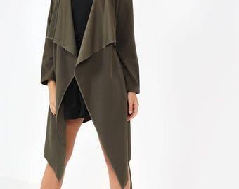 Imogen Khaki Waterfall Jacket, Asymmetrical Waterfall Jacket, Khaki Ladies Jacket, Waterfall Jacket Overcoat