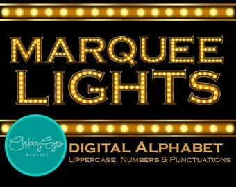 Marquee Light Digital Alphabet, Numbers and Punctuation Clip Art, Vintage Light Sign Letter, Instant Download