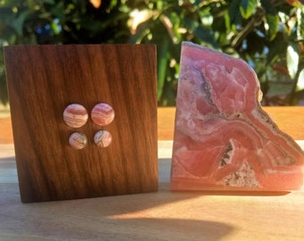 Handmade  Rhodochrosite Stud Earrings