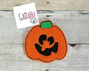 Cute Pumpkin feltie. Embroidery Design 4x4 hoop Instant Download. Felties. Halloween feltie.