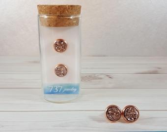 Rose Gold Druzy Earrings, Rose Gold Druzy Stud Earrings, Rose Gold Stud Earrings, Rose Gold Faux Druzy Earrings, 8mm Rose Gold Druzy Stud