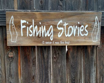 Fishing Stories Reclaimed Wood SIgn
