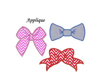 Bow Applique Design - set of 3 designs, 3,4,5 inch each instant download
