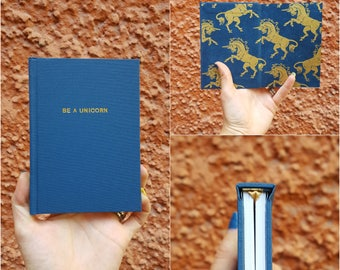 Luxurious Be A Unicorn Notebook / Sketchbook - Totally handmade - Teal and gold - A6 - Gold option