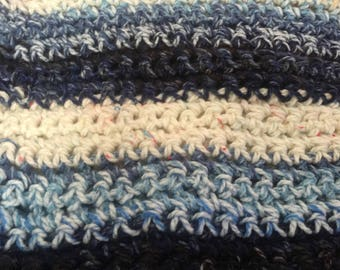 Crochet Baby Blanket (Shades of Blues and Whites)