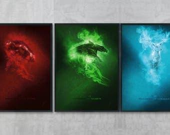 Harry Potter Art Bundle - Harry Potter Poster Print - Harry Potter Wall Art - Gryffindor Art - Harry Potter Decor - Hogwarts Drawing
