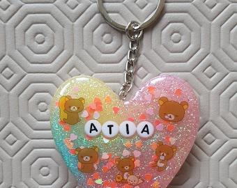 Custom Kawaii Heart-Shaped Keychain
