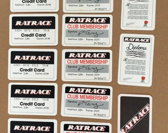 Vintage board game Ratrace spare diploma membership cards