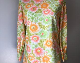 Vintage Floral Day Glo Green Orange Pink Watercolor Long Sleeve A line Shift Mini Dress with Diamond Shape Snaps on Cuffs Neon Flowers