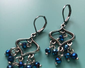 Silver Earrings / Dangle Earrings / Handmade / Drop Earrings / Gift Wrapped / Chandileer Earrings / Gift For Her / Blue Earrings