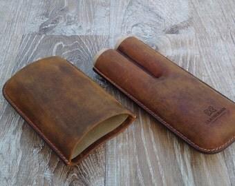 cigar Case moulded leather Handcrafted vintage fine leather
