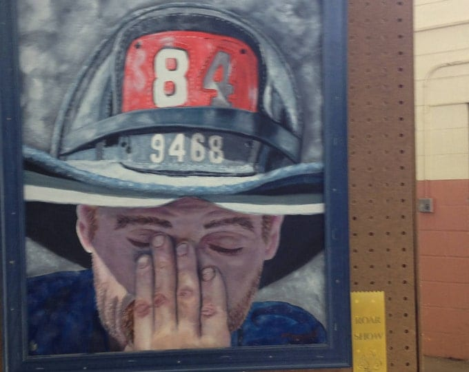 Fireman Oil Painting after 911 award winning in juried show, 911 Oil Painting, Fireman Oil Painting, Wall Art, Room Decor,