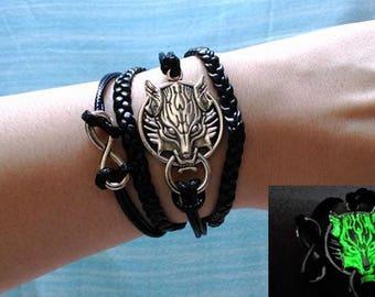 """Final Fantasy """"Fenrir"""" Wolf Bracelet -GLOW IN DARK- Leather Wristband, Wrist Bracelet"""
